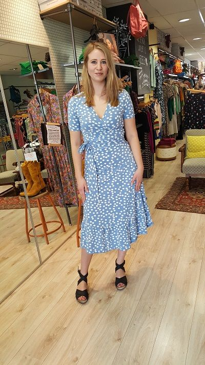 Organic Ibsen Dress Big Funny Dots Waterblue/Chalk