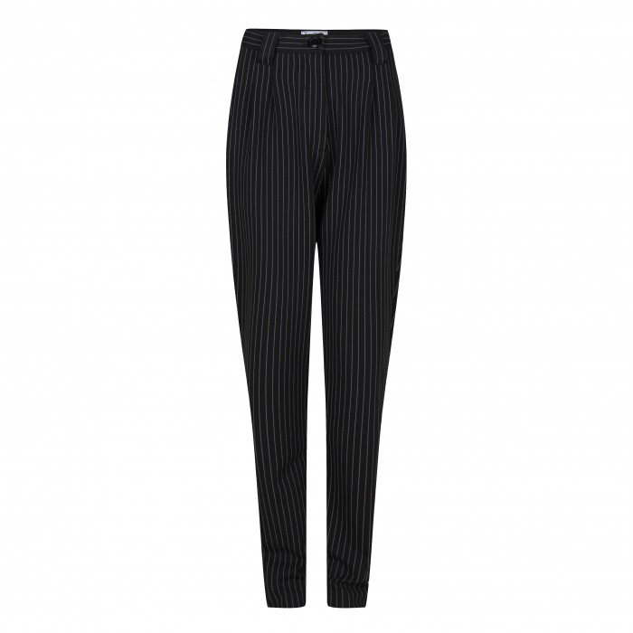 High Waist Trousers Pinestripe Black