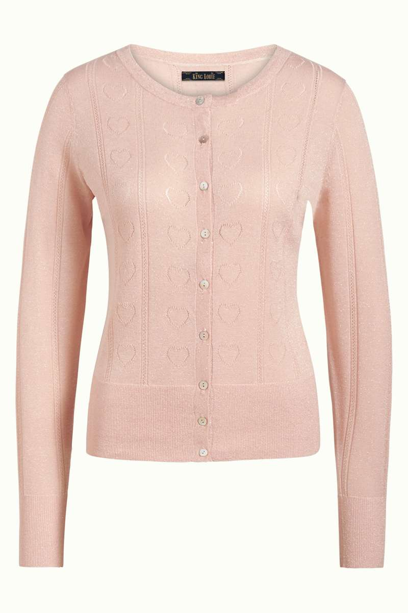 Cardi Roundneck Decor Pale Pink