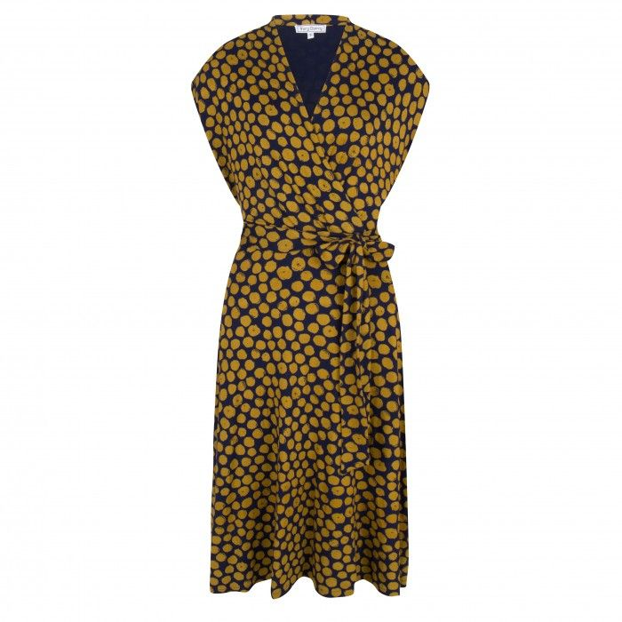 Cross Over Dress Navy/Mustard/Dots