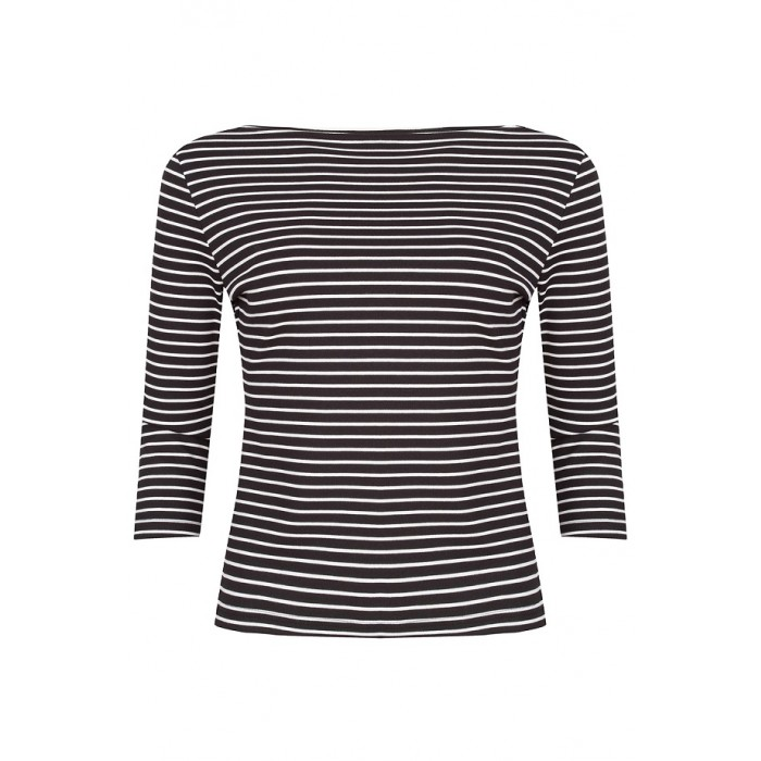 Boatneck Top Black/White/Sripes