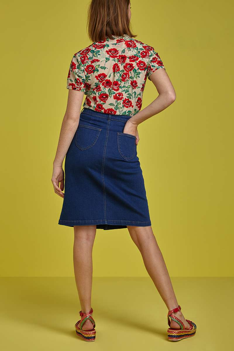 Angie Skirt Denim Jet Blue