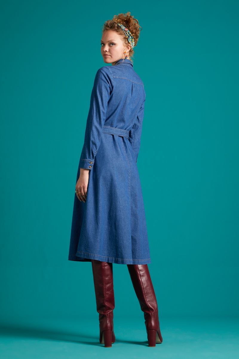 Olive Dress Chambray River Blue