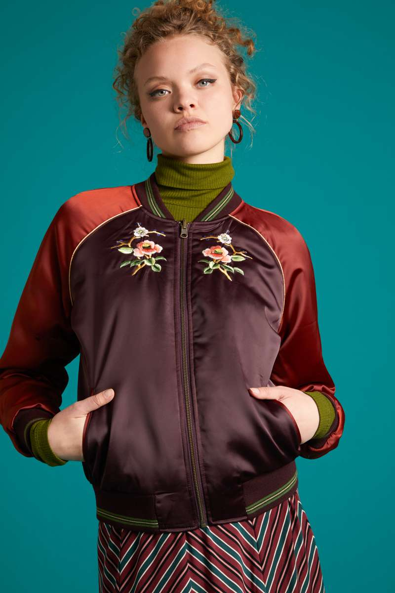 Reversible Bomber Jacket Cherrybird Grape Red