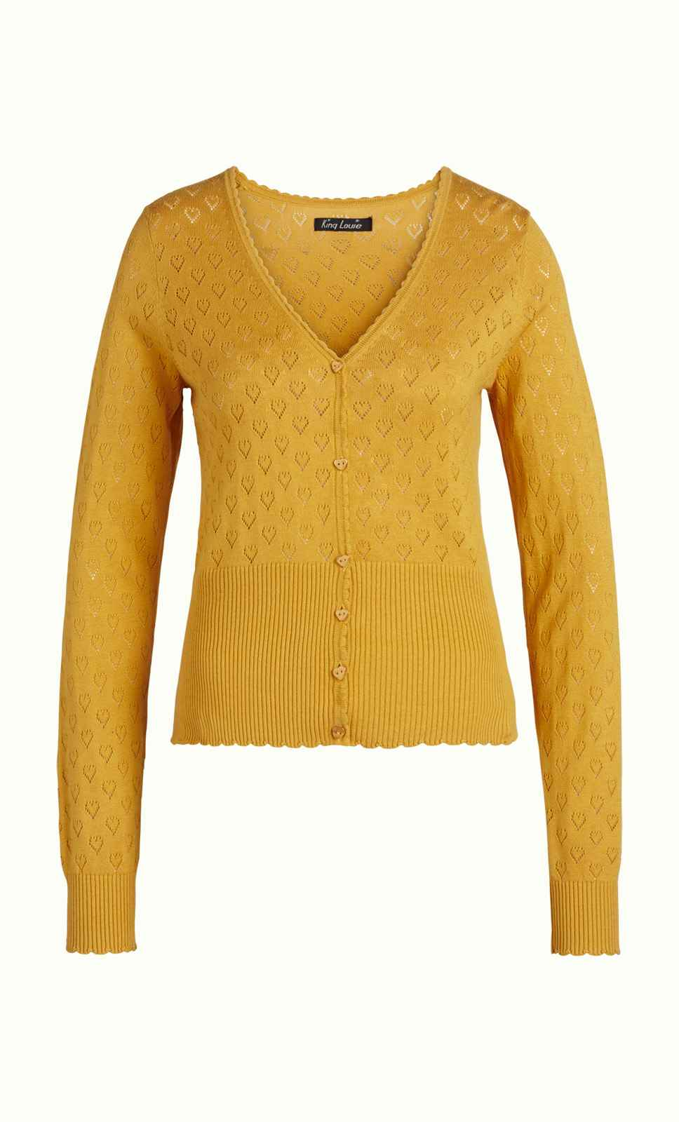 Cardi V Heart Ajour Honey Yellow