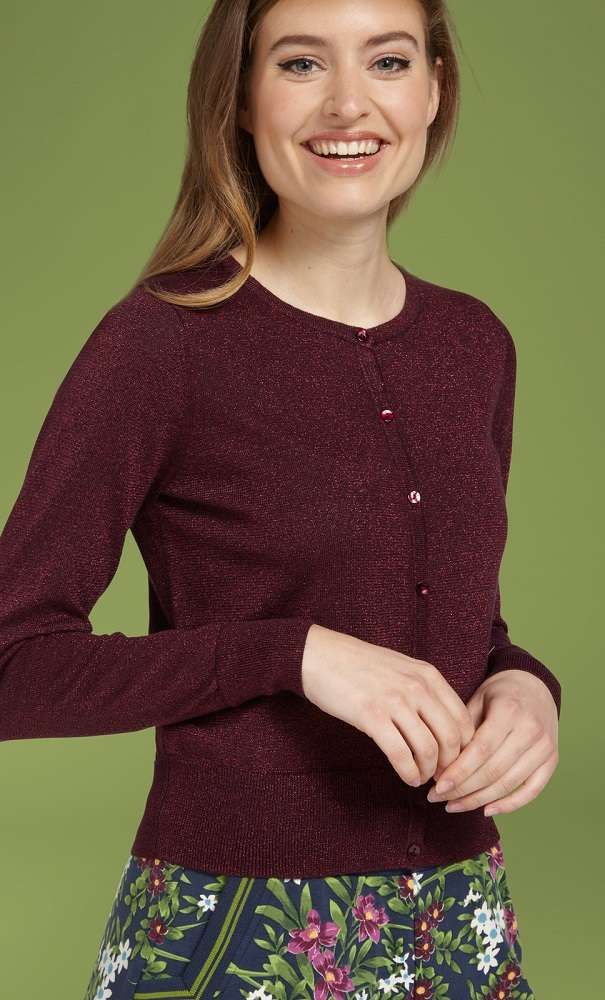 Cardi Roundneck Lapis Bordeaux Red