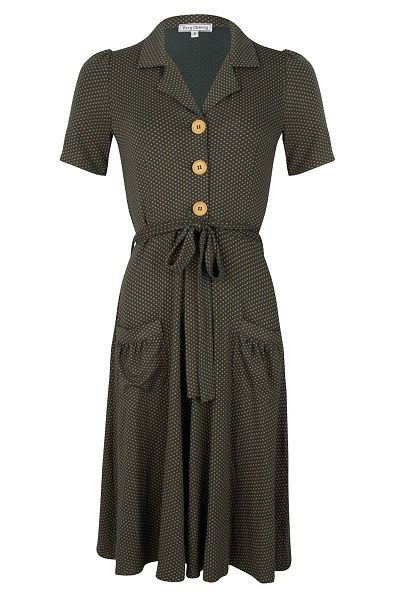 Revers Dress Tricot Minidots Green Mustard