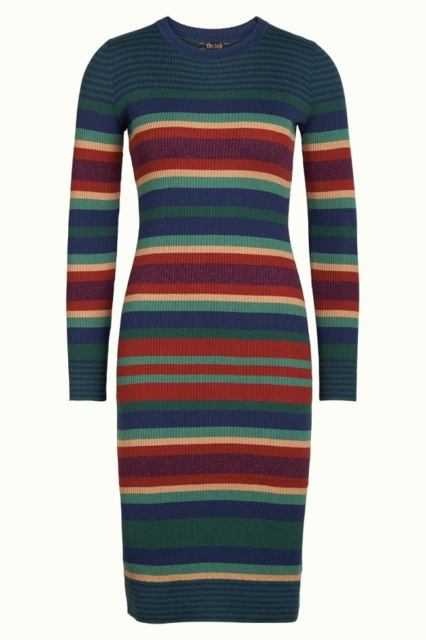 Knit Dress Havana Stripe Autumn Blue
