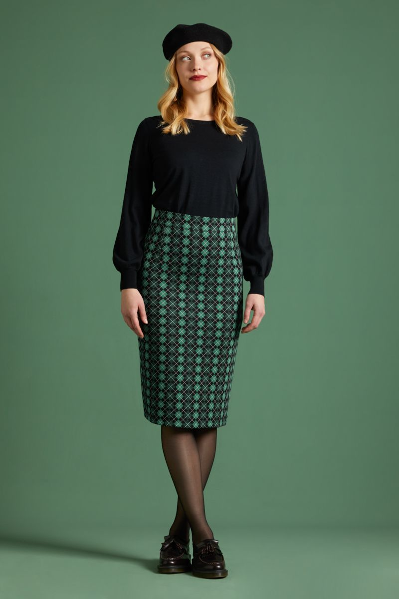 Pencil Skirt Aberdeen Fir Green