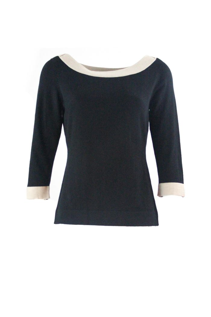 Swaeter Boatneck Black Two Tone