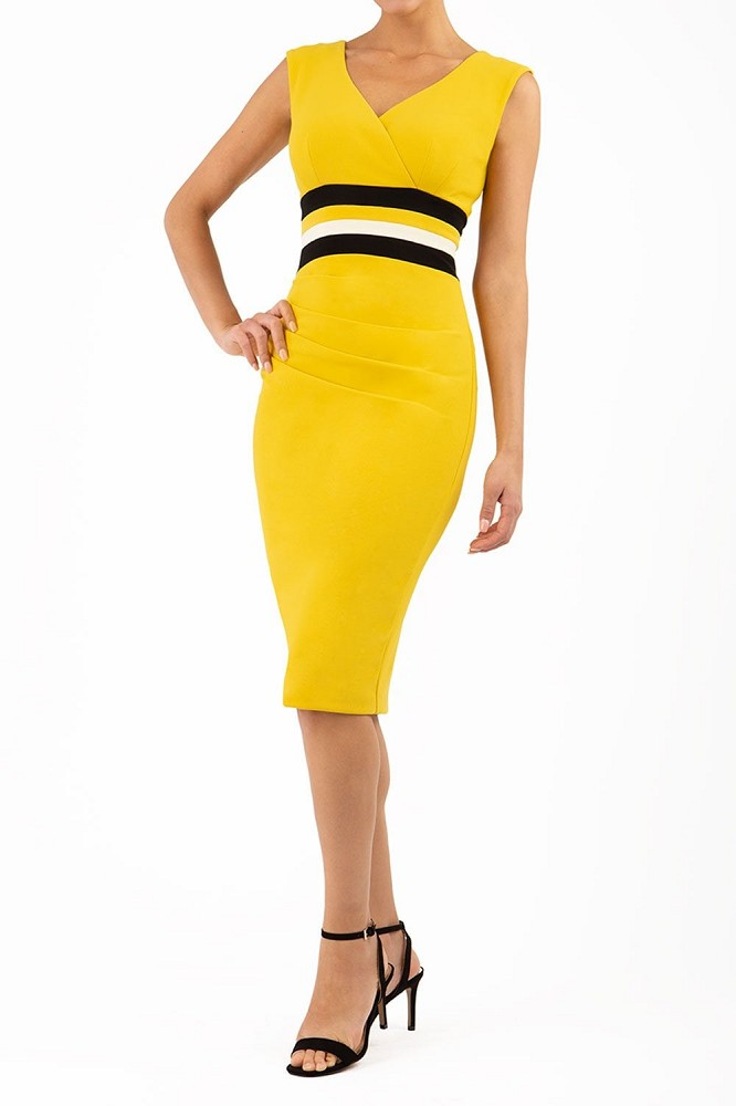 Sabine Dress Ottoman Mustard Black Vanille