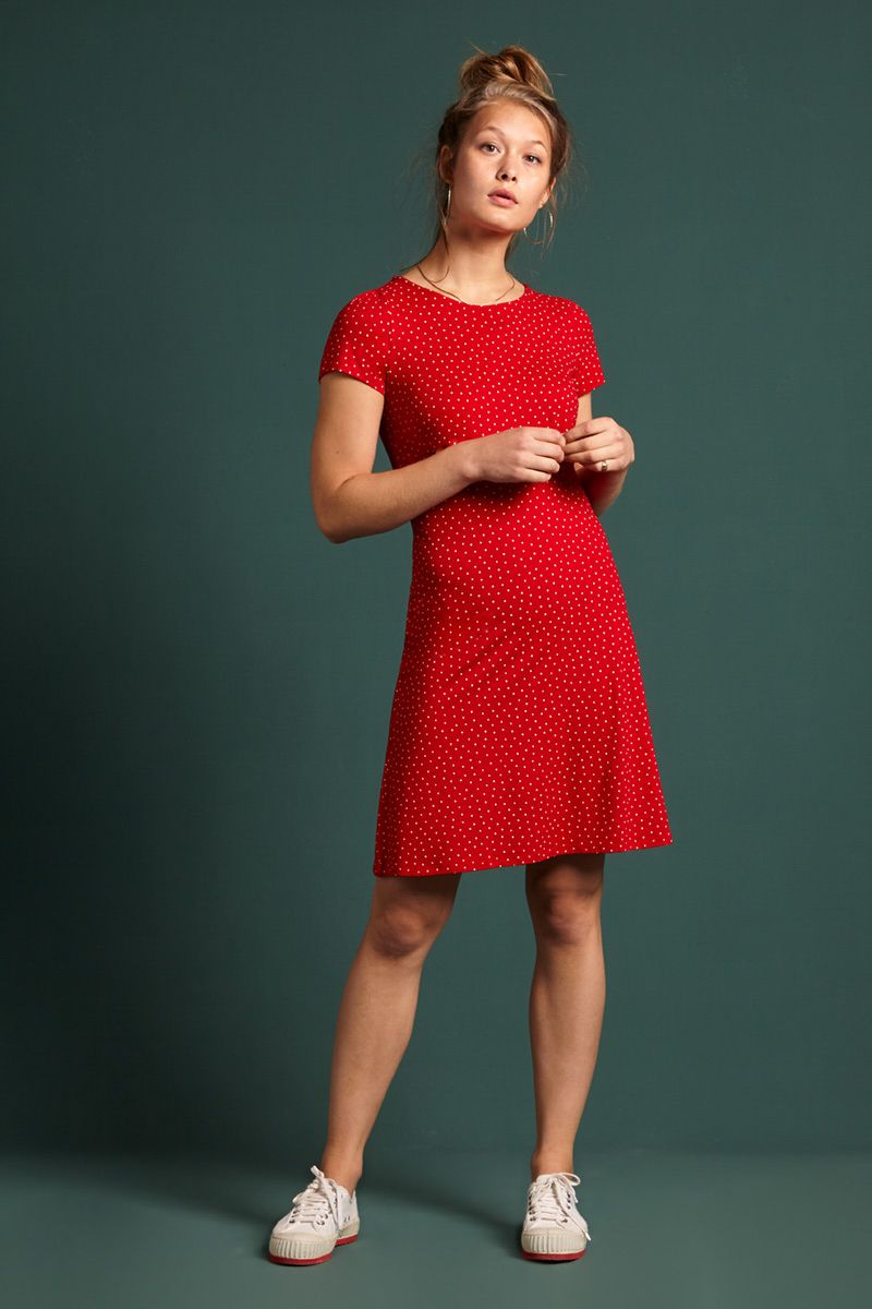Duffy Mini Dress Little Dots Chili Red