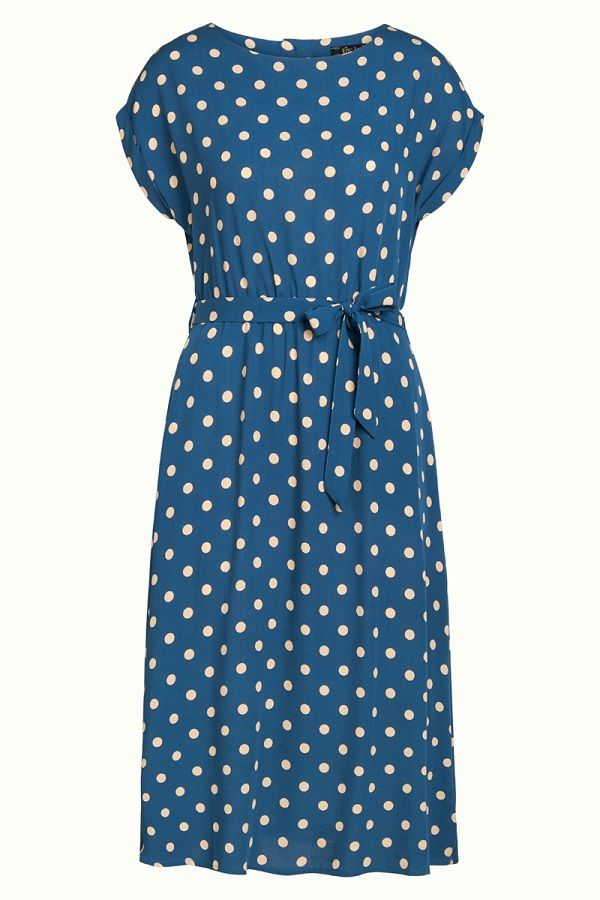 Betty Dress Loose Fit Polkadot Autumn Blue
