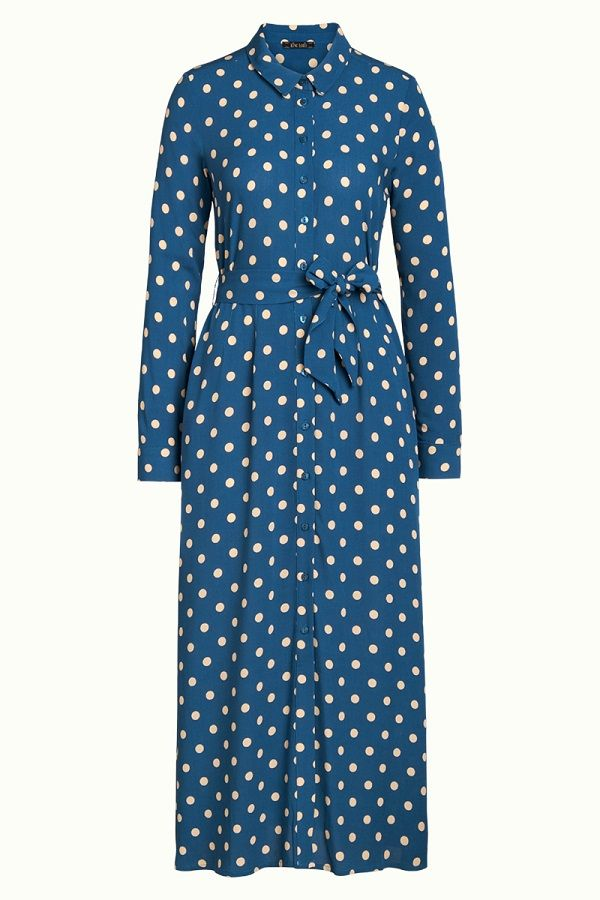 Rosie Midi Dress Polkadot Autumn Blue