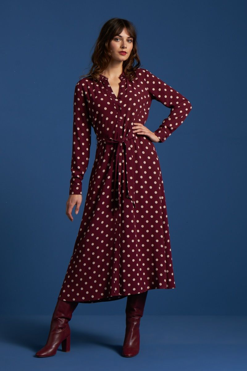 Rosie Midi Dress Polkadot Windsor Red