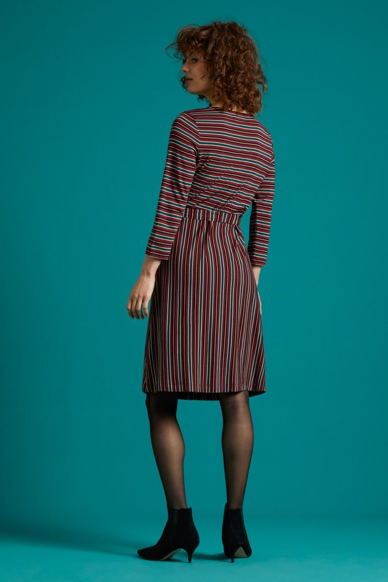 Hailey Dress Nipon Stripe Beet Red