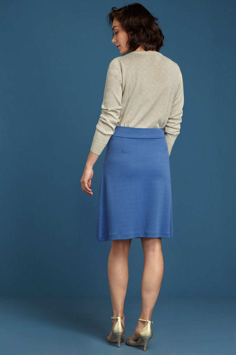 Davis Skirt Milano Crepe Moonlight Blue