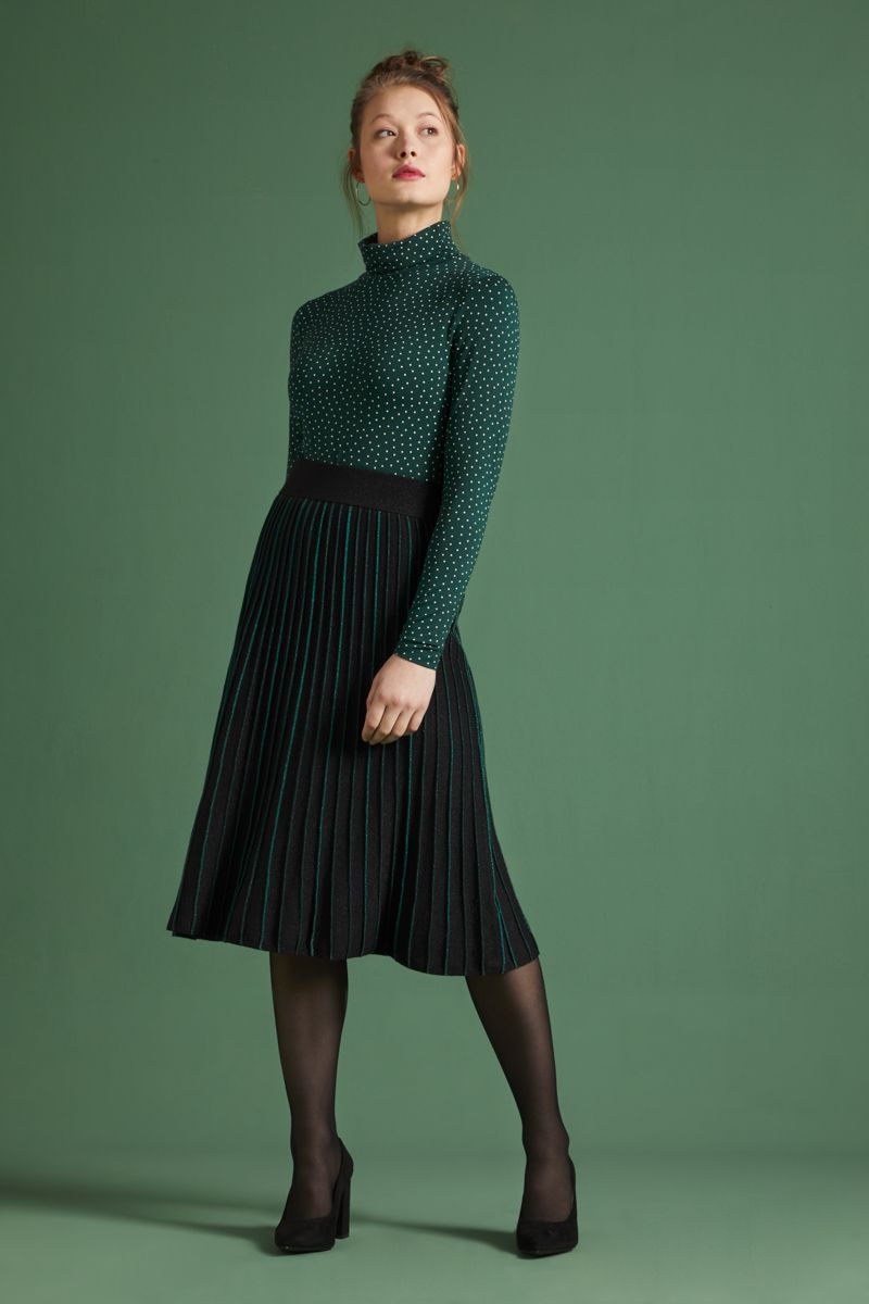 Pintuck Skirt Dazzle Stripe Black