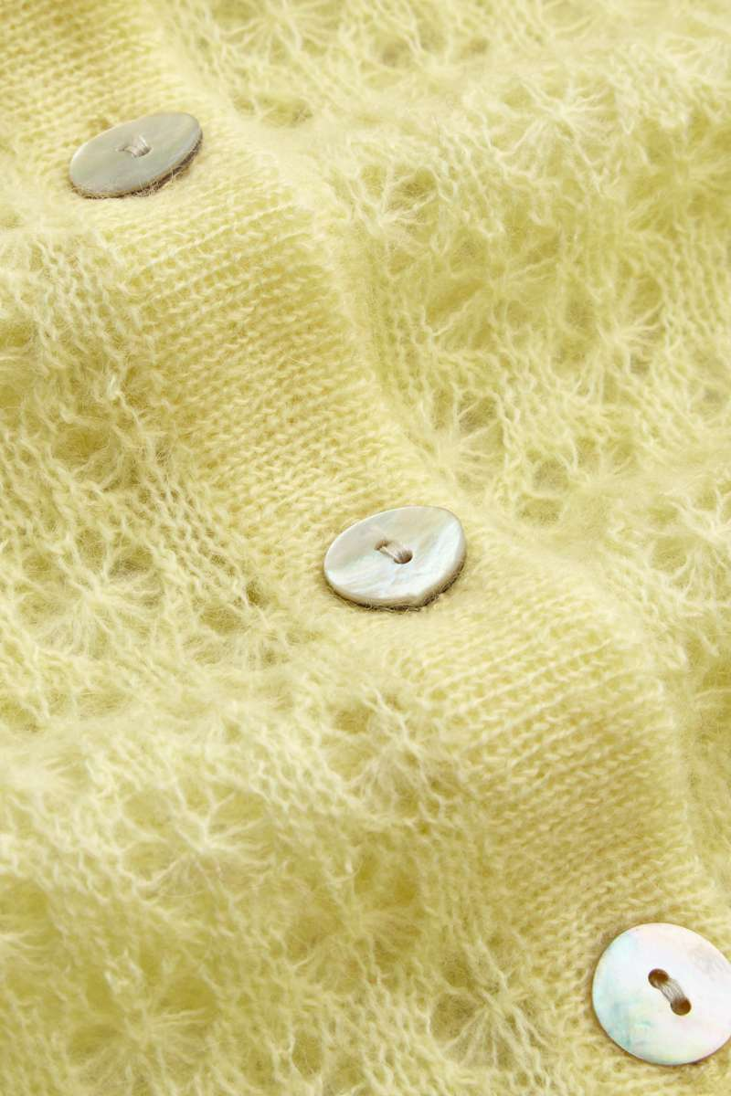 Cardi Roundneck Fluffy Pastel Yellow
