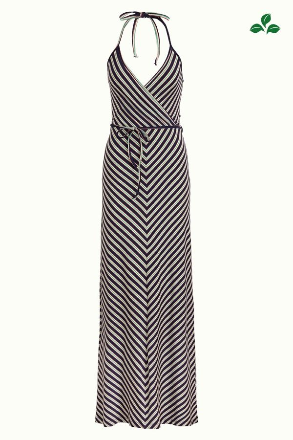 Maxi Halter Dress Rimini Stripe Blue