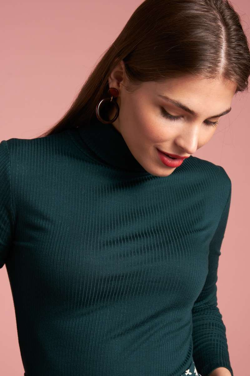 Rollneck Top Tencel Rib Pine Green