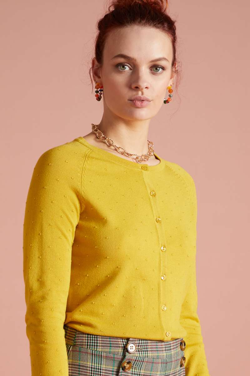Cardi Raglan Roundneck Droplet Neutral Yellow
