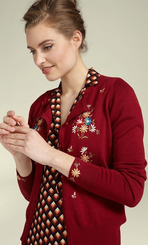 Cardi Roundneck Bouquet Ribbon Red