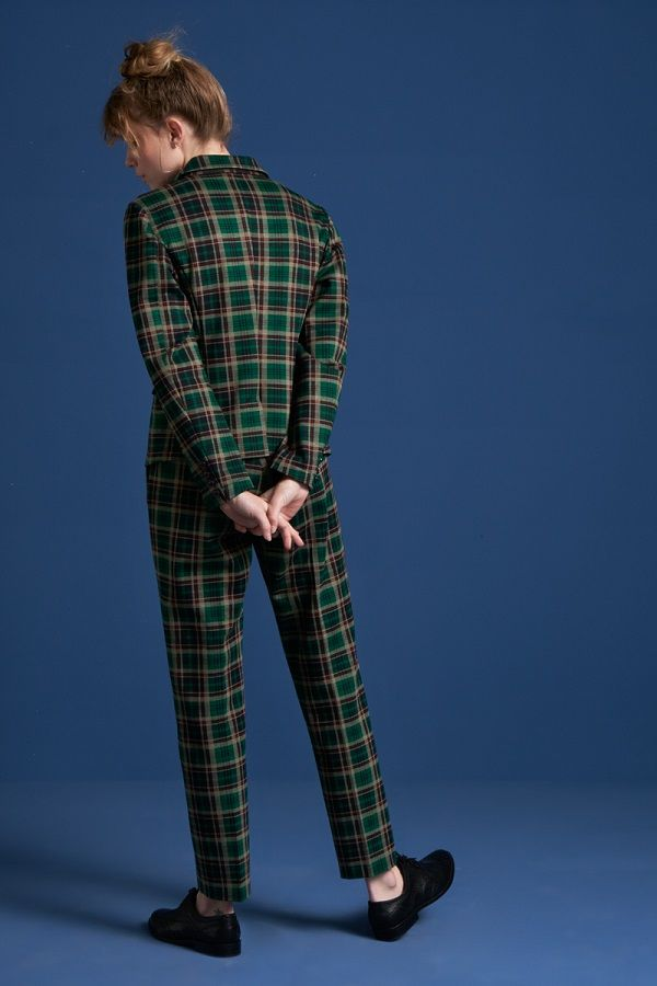 Ann Pants Rodeo Check Peacock Green