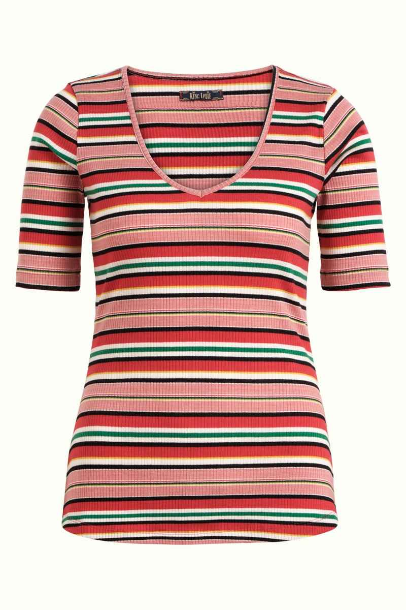 Carice V Top Poolside Stripe Chili Red