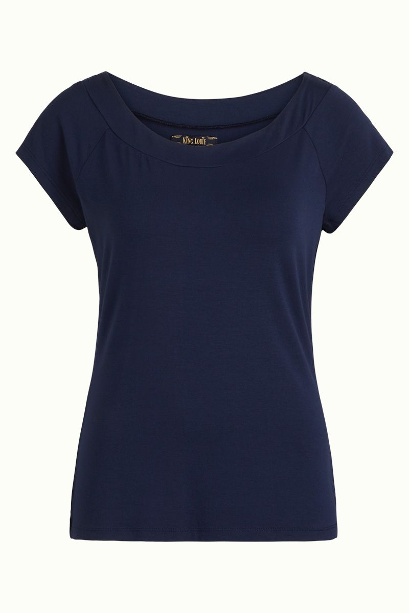 Sarah Top Viscose Lycra Drak Navy