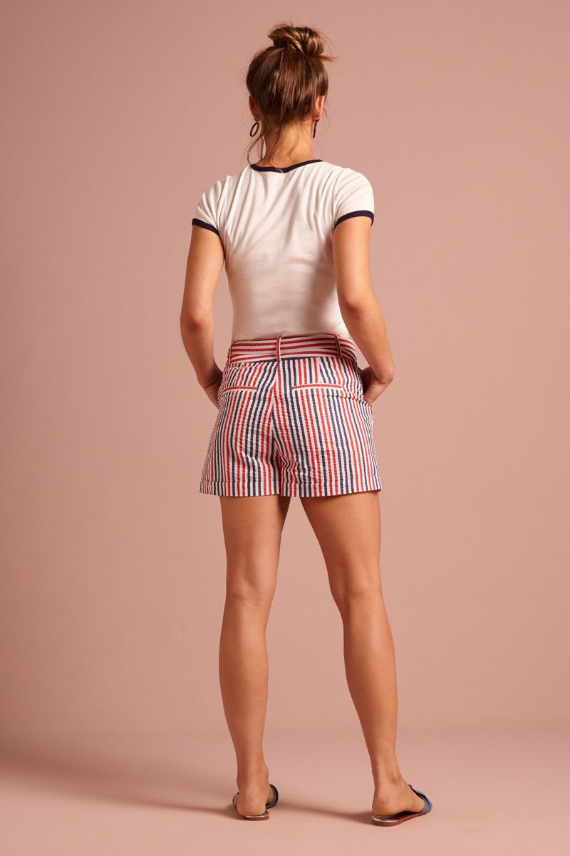 Roisin Shorts Bellaria Stripe  Gardenia