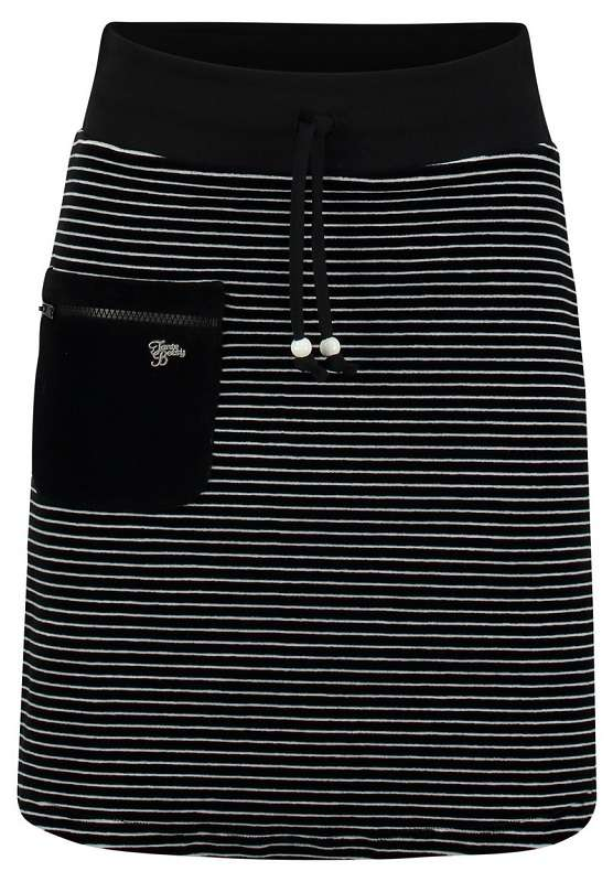 Zipper Skirt Nicky Velours Stripe Black